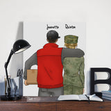 Customize Hand Draw Canvas-Print Gift -Courier&Soldier Marine