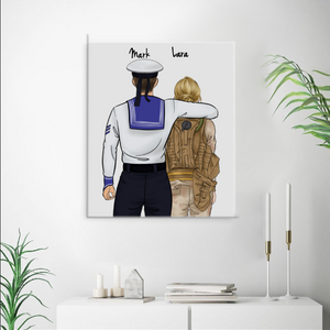 Customize Hand Draw Canvas-Print Gift -NavyBoy Marine&Soldier Soldat