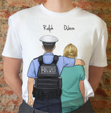 Handraw Short Sleeve T-shirt for Friend -Police Sheriff&Nurse