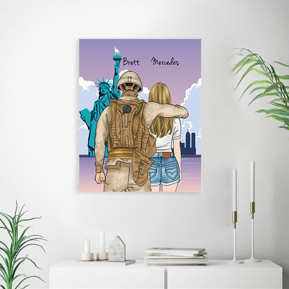 Customize Hand Draw Canvas Print Gift -Soldier Soldat&Cowboy Girl