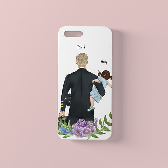 Customize Hand Drawn iPhone Case Father's Day Gift -Father&Son/Daughter