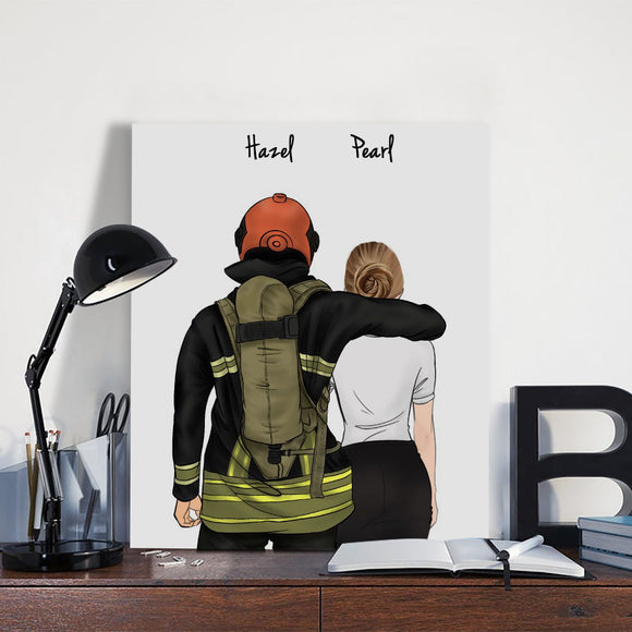 Customize Hand Draw Canvas-Print Gift -Fireman&Secretary