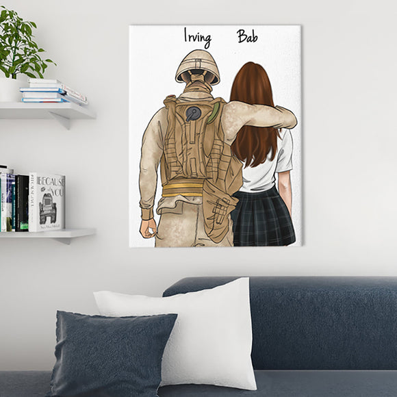Customize Hand Draw Canvas-Print Gift -Soldier&Girl