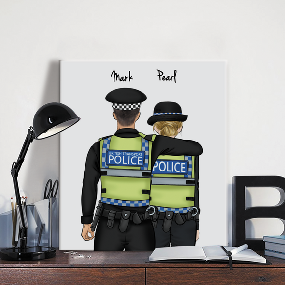 Customize Hand Draw Canvas Print Gift -Police UK&Girl