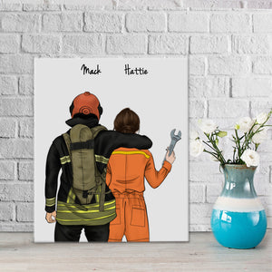 Customize Hand Draw Canvas-Print Gift -Fireman Pompier&Repairman