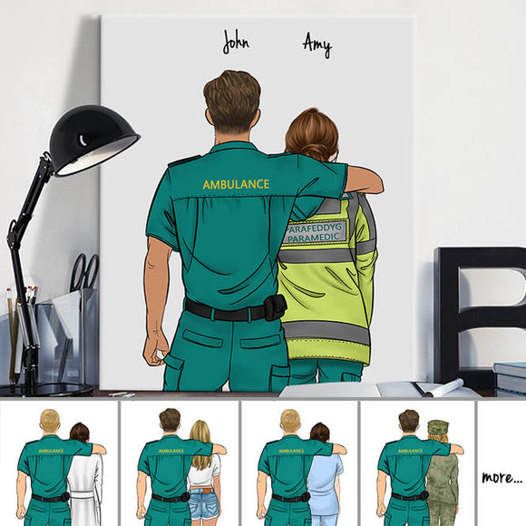 Customize Hand Draw Canvas-Print Gift -Ambulance Driver&Parafeddyg  Paramedic UK