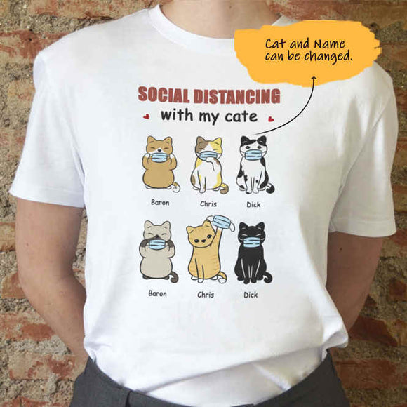 Customize Hand Draw Short Sleeve T-shirt -Cat