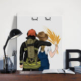 Customize Hand Draw Canvas-Print Gift -Fireman Pompier&Farmer
