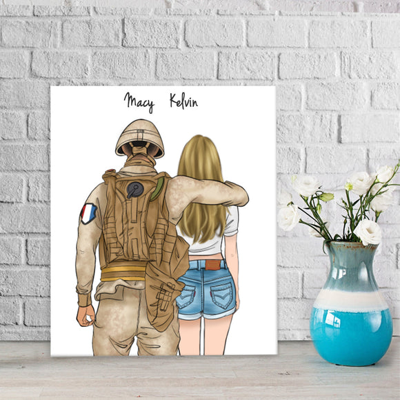 Customize Hand Draw Canvas-Print Gift -Soldier&Girl-France