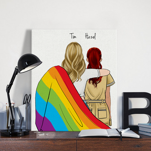 Customize Hand Draw Canvas-Print Gift -LGBT Couple Gift -Paramedic&Nurse