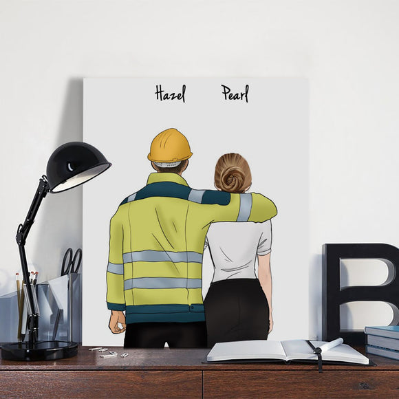 Customize Hand Draw Canvas-Print Gift -Engineer&Secretary