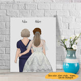 Customize Hand Draw Canvas Print Gift -Father/Mother&Girl Wedding