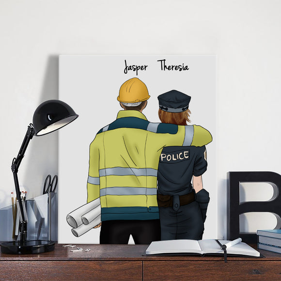 Customize Hand Draw Canvas-Print Gift -Engineer&Police