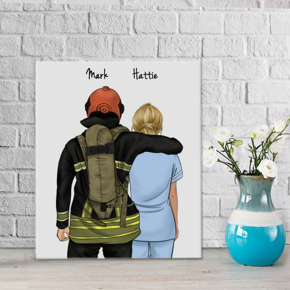 Customize Hand Draw Canvas-Print Gift -Fireman&Paramedic
