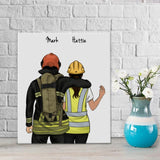 Personalized Hand Draw Canvas-Print Gift -Fireman Pompier&Girl