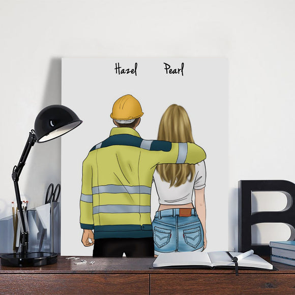 Customize Hand Draw Canvas-Print Gift -Engineer&Girl
