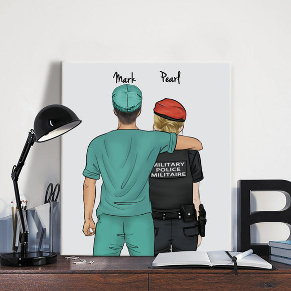 Customize Hand Draw Canvas Print Gift -Doctor&Military Police Canada