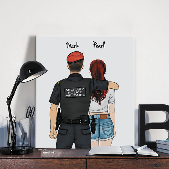 Customize Hand Draw Canvas Print Gift -Military Police Canada Sheriff&Girl