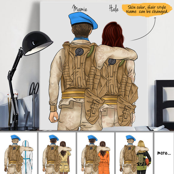 Customize Hand Draw Canvas Print Gift -Peacekeeping Soldier Soldat&Ambulance Driver US