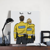 Customize Hand Draw Canvas Print Gift -Police Boy Sheriff&Girl Canada