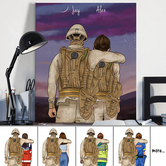 Customize Hand Draw Canvas-Print Gift -Soldier Soldat&Girl