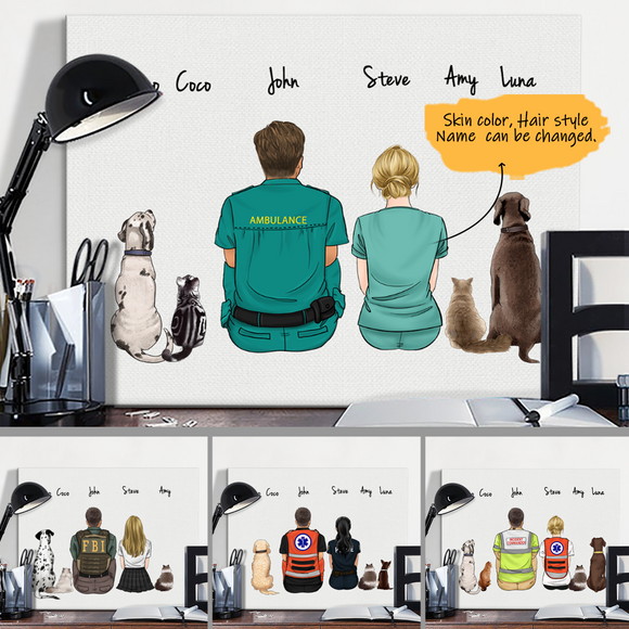 Customize Hand Draw Canvas Print Gift -Dog And Cat&Couple