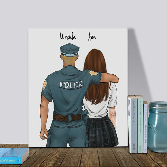 Customize Hand Draw Canvas-Print Gift -Police&Girl
