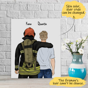 He is My Friend! Handraw Custom Canvas-Print Gift -Fireman Pompier&Boy