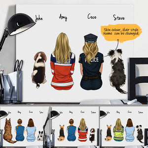 Customize Hand Draw Canvas-Print Gift -Girls&Dog
