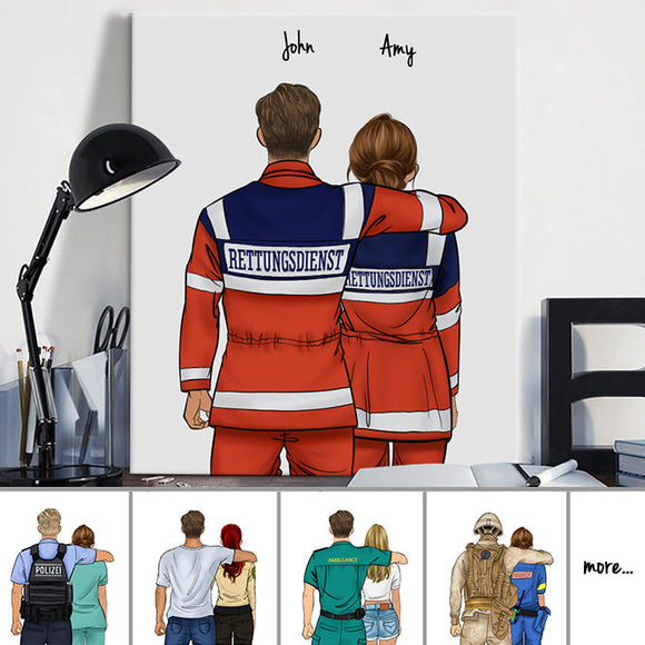 Customize Hand Draw Canvas Print Gift -Boy& Girl