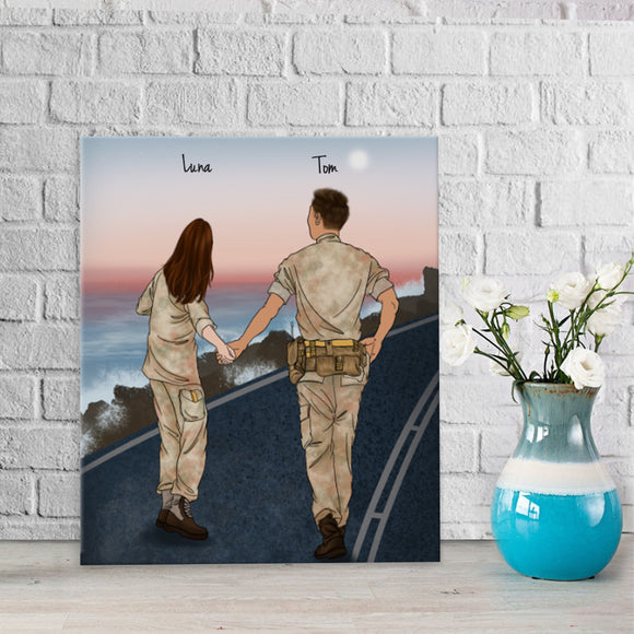 He is My Friend! Handraw Custom Canvas-Print Gift -Soldier&Girl