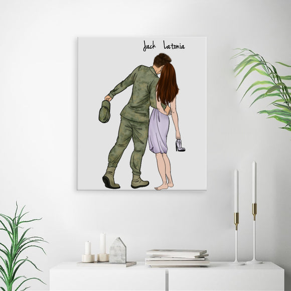 Customize Hand Draw Canvas-Print Gift -Soldier Marine Soldat&Girl