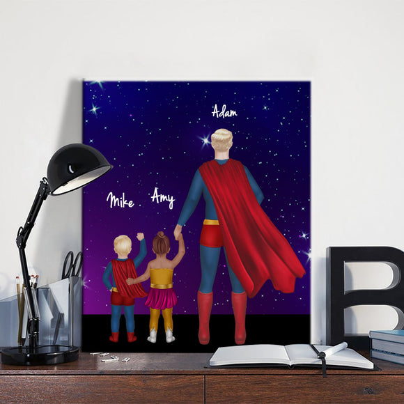 Customize Hand Draw Canvas-Print Father's Day Gift -Superman Dad&Son/Daughter