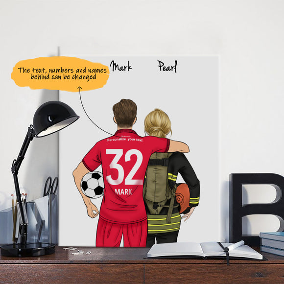 Customize Hand Draw Canvas-Print Gift -Football Player&Girl