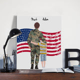 Customize Hand Draw Canvas-Print Gift -Soldier Marine Soldat