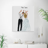 She's my love! Handraw Custom Canvas-Print Gift -Wedding
