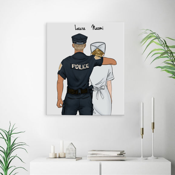 Customize Hand Draw Canvas-Print Gift -Police1 Sheriff&Nurse Paramedic