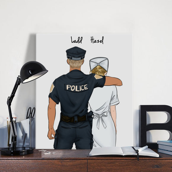 Customize Hand Draw Canvas-Print Gift -Police&Nurse Paramedic