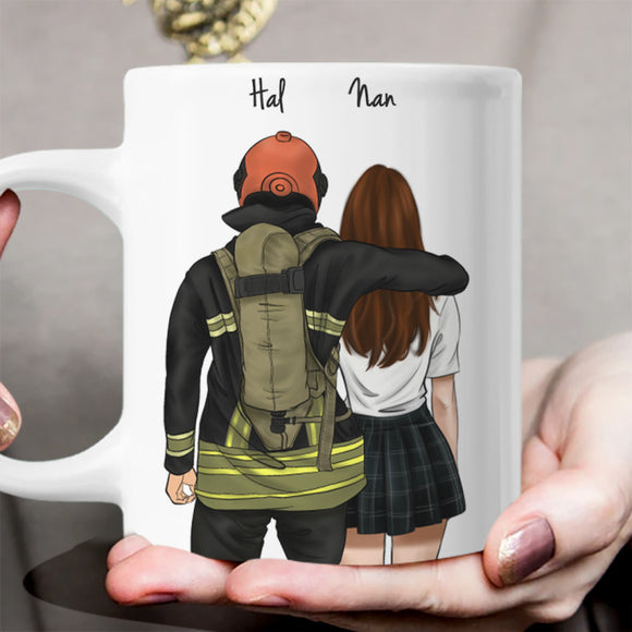 He is My Boyfriend! Handraw Custom Mug Gift for Friend -Fireman&Girl