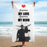 Customize Hand Draw Square Beach Towel-Boy&Girl