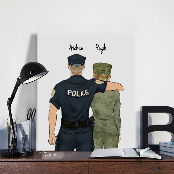 Customize Hand Draw Canvas-Print Gift -Police&Soldier