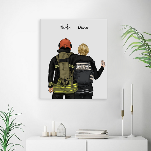 Customize Hand Draw Canvas-Print Gift -Fireman&Police