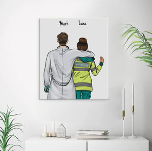 Customize Hand Draw Canvas-Print Gift -Doctor&Parafeddyg Paramedic UK