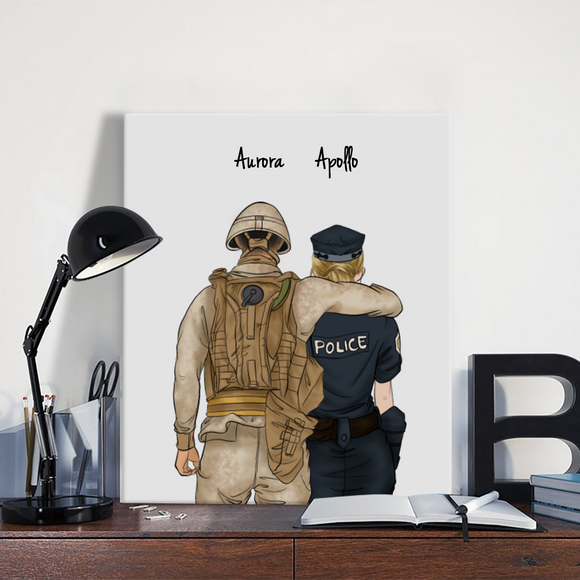 Customize Hand Draw Canvas-Print Gift -Soldier&Police