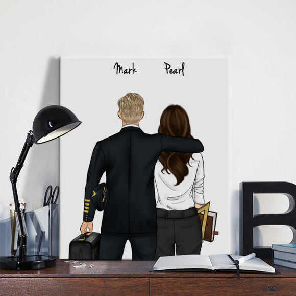 Customize Hand Draw Canvas-Print Gift -Pilot1&Teacher