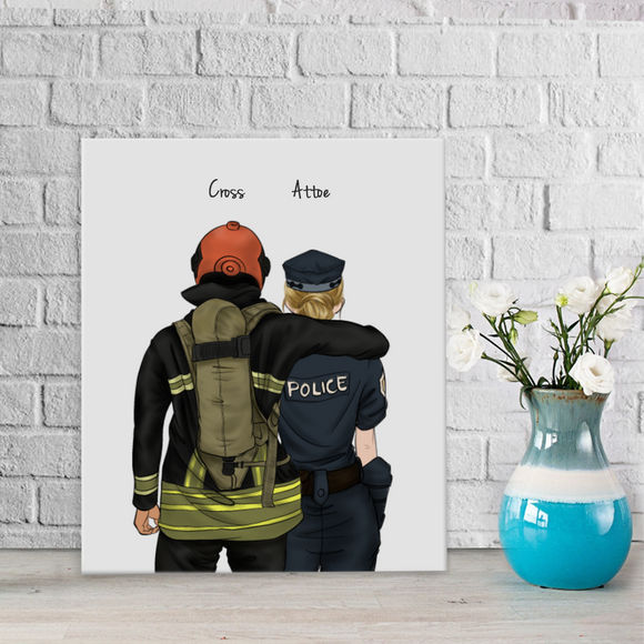 Customize Hand Draw Canvas-Print Gift -Fireman Pompier&Police