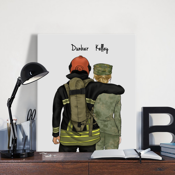 Customize Hand Draw Canvas-Print Gift -Fireman&Soldier