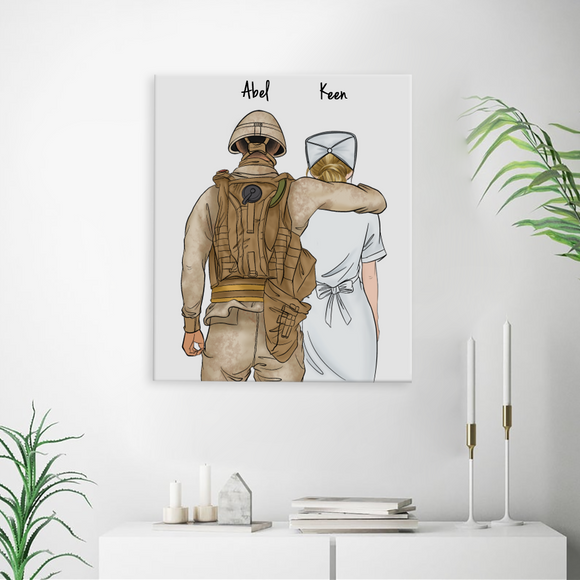 Customize Hand Draw Canvas-Print Gift -Soldier Soldat&Nurse Paramedic