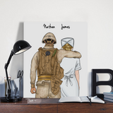 Customize Hand Draw Canvas-Print Gift -Soldier&Nurse Paramedic