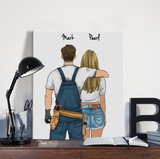 Customize Hand Draw Canvas-Print Gift -Mechanic&Girl